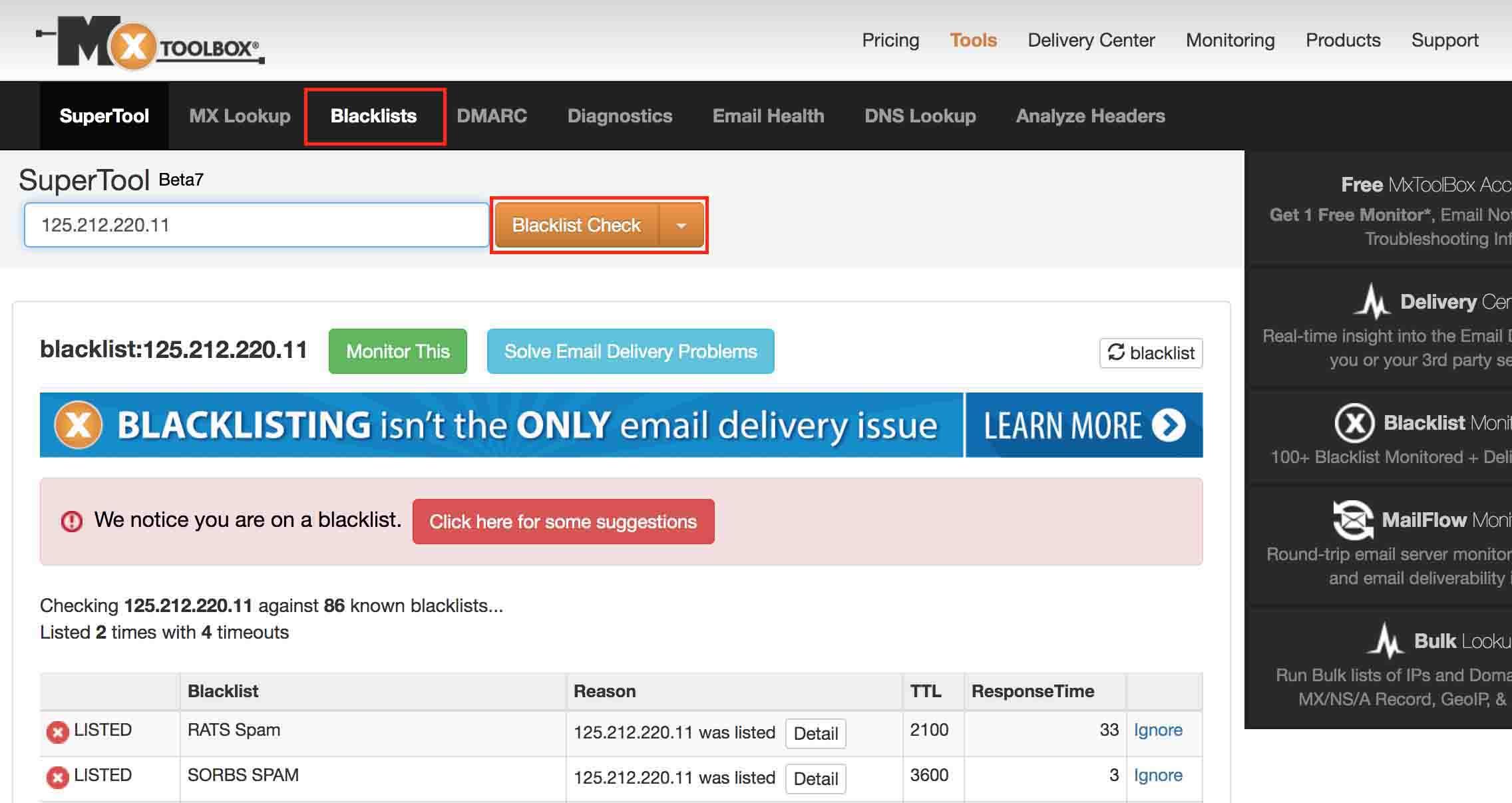 check IP bằng MxToolBox