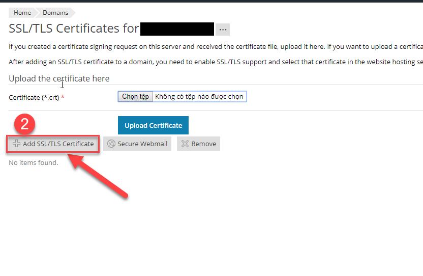 Add SSLTLS Certificate