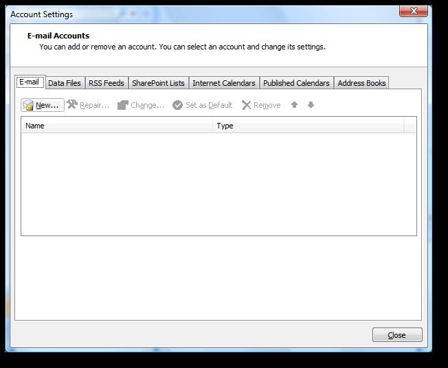 Backup dữ liệu mail lưu trên server về máy tính bằng Outlook 2007 2