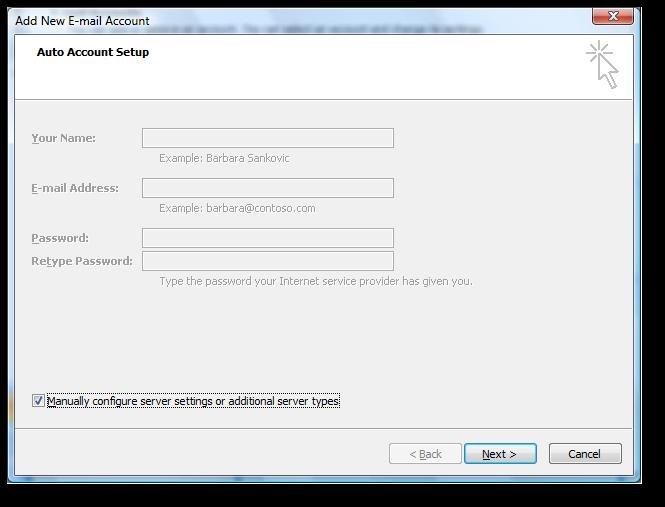 Backup dữ liệu mail lưu trên server về máy tính bằng Outlook 2007 3
