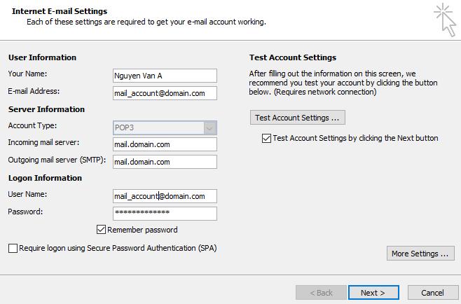 Backup dữ liệu mail lưu trên server về máy tính bằng Outlook 2007 5