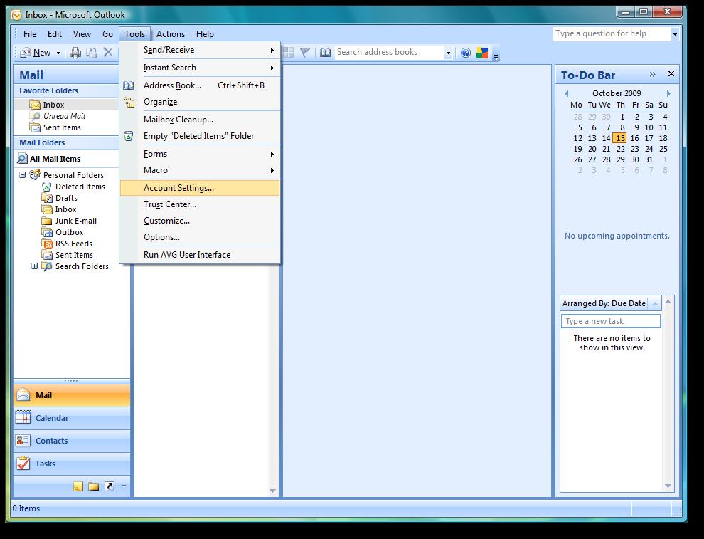 Backup dữ liệu mail lưu trên server về máy tính bằng Outlook 2007