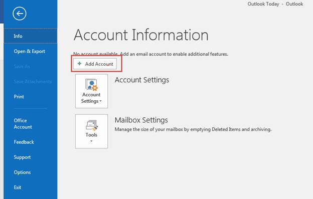 Bước 2 Backup dữ liệu mail lưu trên server về máy tính bằng Outlook 20132016