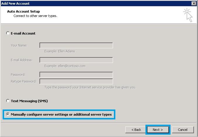 Bước 3 Backup dữ liệu mail lưu trên server về máy tính bằng Outlook 2010
