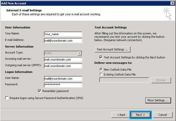 Bước 8 Backup dữ liệu mail lưu trên server về máy tính bằng Outlook 2010