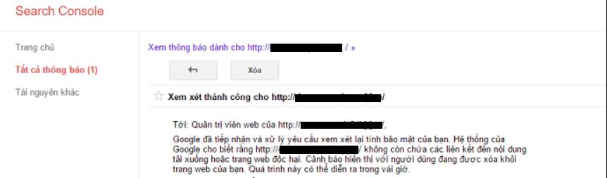 Kết quả thành công khi Google gửi lại thông báo cho bạn
