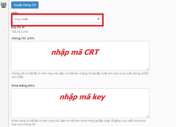 Nhập mã CRT và key