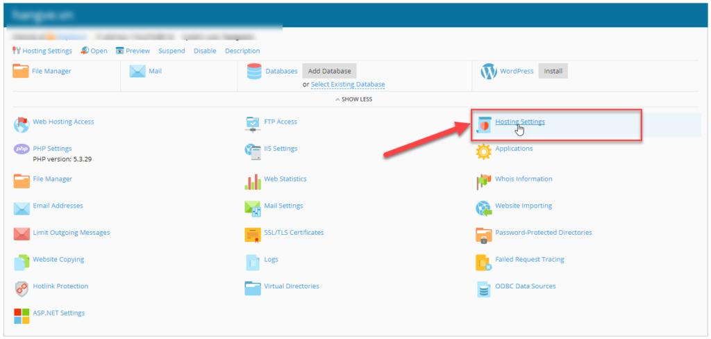 chọn hosting setting