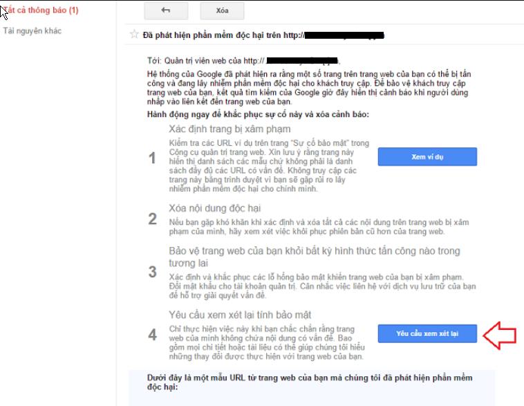 gửi yêu cầu cho Google