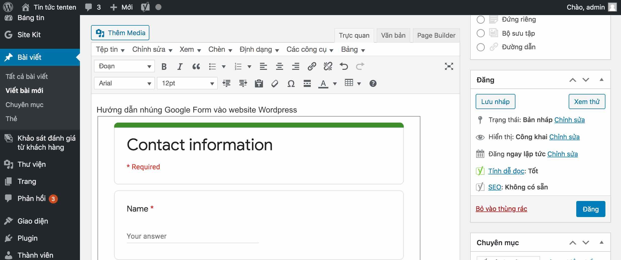link nhung google form trong wordpress