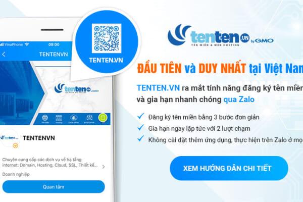 TENTEN.VN ra mắt tính năng đăng ký và gia hạn nhanh qua Zalo