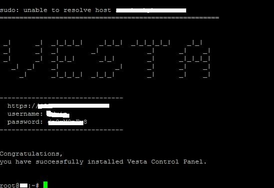 thông tin quản trị VestaCP