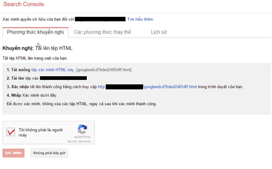 xác minh quyền sở hữu tên miền với google