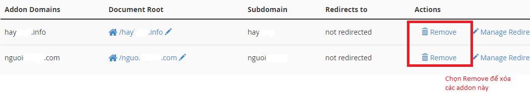 Bước 3 Các bạn vào mục Addon domain và Mysql Database Account Mail dể xóa remove