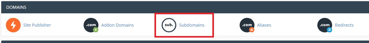 chọn mục Subdomains