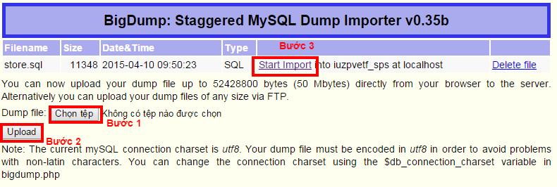 sử dụng BigDump import Database