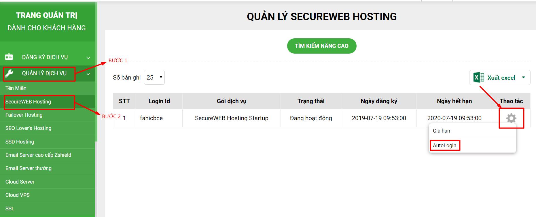 Hướng dẫn dăng nhập quản lý HostingEmail server tenten