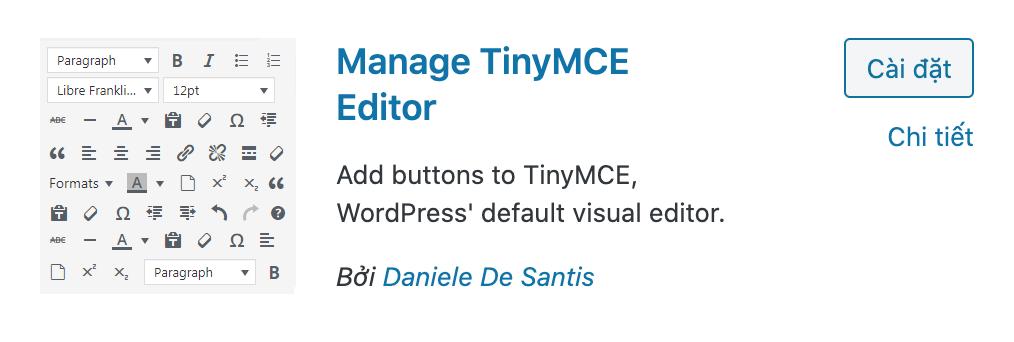 Manage TinyMCE Editor plugins WordPress