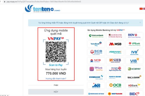 Hướng dẫn đăng ký tên miền (Thanh toán qua Quét QR Code)