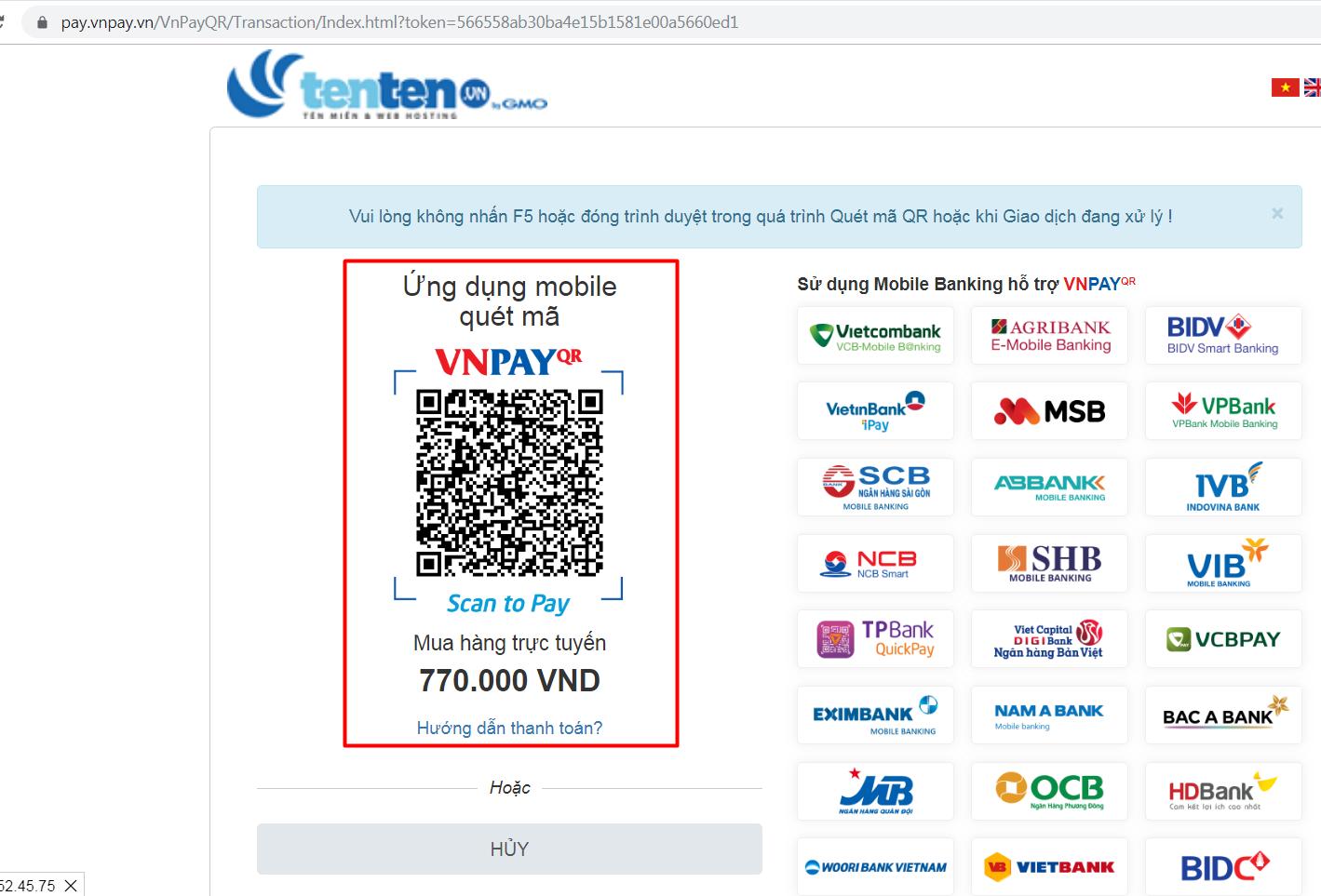truy cập mobile banking tenten